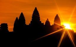 Angkor wat στην ανατολή, Καμπότζη Στοκ Φωτογραφίες