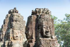 Angkor Wat - το πρόσωπο Angkor Thom σε Siem συγκεντρώνει, Καμπότζη, κόσμος χ Στοκ Εικόνες