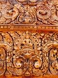 Angkor Wat - όμορφες γλυπτικές, bas ανακουφίσεις του ναού Banteay Srei Στοκ Φωτογραφία