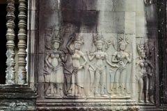 Angkor Wat, Камбоджа танцевать apsaras Стоковое Фото