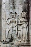 Angkor Wat, Камбоджа танцевать apsaras Стоковые Изображения RF