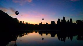Angkor Wat на восходе солнца в Камбодже стоковое изображение rf