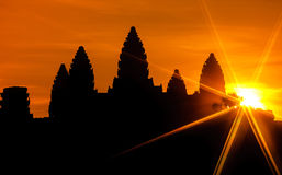 Angkor Wat на восходе солнца, Камбоджа Стоковые Фото