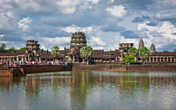 Angkor Wat. A look at Angkor Wat from outside the walls and by the reflecting pond Royalty Free Stock Photography