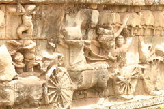 Angkor wat. Wall carving in siem reap stock images