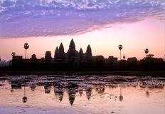Angkor Wat. UNESCO World Heritage site ruin of Angkor Wat silhouetted at sunrise- Siem Reap,Cambodia Royalty Free Stock Photography