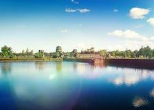 Αρχαία καμποτζιανή αγροτική έννοια Angkor Wat καταστροφών ναών Στοκ εικόνα με δικαίωμα ελεύθερης χρήσης