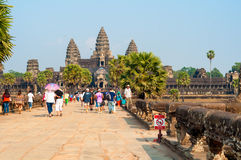 Angkor Wat approach Royalty Free Stock Photo