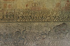 Ancient carvings in Angkor Wat Stock Photography