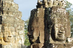 Faces on Prasat Bayon. Bayon is richly decorated Khmer temple at archaeological side of Angkor Thom in Cambodia Royalty Free Stock Photos
