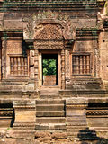 Angkor Wat - Banteay Srei Temple architecture. Bass relief tantric carvings on Banteay Srei Temple Stock Images
