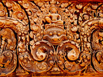 Angkor Wat - Banteay Srei Temple. Bass relief tantric carvings on Banteay Srei Temple Stock Image