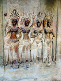 Angkor Wat, bas-hulp kambodja royalty-vrije stock afbeelding