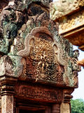 Angkor Wat - Beautiful carvings, bas reliefs of Banteay Srei Temple Stock Images