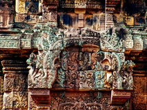 Angkor Wat - Beautiful carvings, bas reliefs of Banteay Srei Temple Royalty Free Stock Image