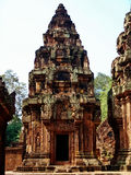 Angkor Wat - Beautiful carvings, bas reliefs of Banteay Srei Temple Royalty Free Stock Photography