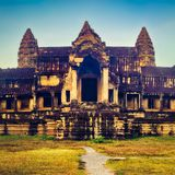 Angkor Wat bei Sonnenaufgang Siem Reap kambodscha stockbild