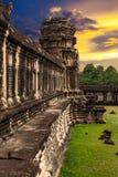 Angkor Wat bij zonsondergang Stock Foto
