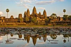 Angkor Wat bij zonsondergang, Kambodja. royalty-vrije stock fotografie