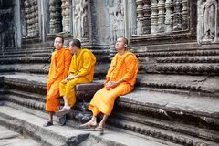 Angkor Wat. Buddhist monks at Angkor Wat, Angkor, Siem Reap, Cambodia. Angkor Wat was first a Hindu later a Buddhist temple complex and the largest religious royalty free stock photos