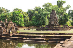 Angkor Wat, Cambodia - December 6, 2016: Galleries and tourists Royalty Free Stock Photo