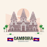 Angkor Wat. cambodia landmark . 7th Wonder of the World. Asean set -  illustration Stock Image