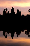 Angkor Wat, Cambodia silhouetted at sunrise Stock Photos