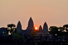 Angkor Wat in Cambodia during sunrise stock photo