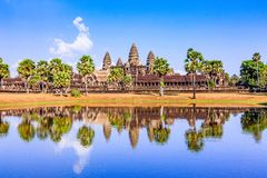 Angkor Wat, Cambodia. View from across the lake Royalty Free Stock Image