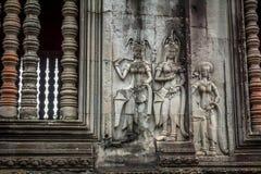 Angkor Wat Carvings. Carvings at Angkor Wat in Siem Reap Cambodia Stock Image
