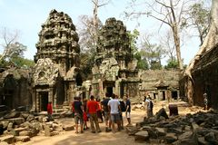 Angkor Wat Complex Temples Statues Stock Images