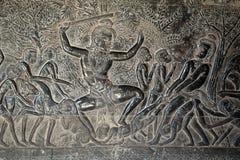 Angkor Wat, de 12de eeuw bas hulp - Yama-Vonnis, afbeelding van hel stock fotografie