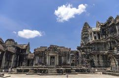 Angkor Wat de structuren rond het 3de niveau Royalty-vrije Stock Fotografie