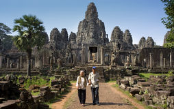 Angkor Wat - det Bayon tempelet - Cambodja Arkivbild