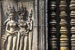 Angkor Wat Detail della donna e delle balaustre Immagini Stock
