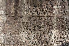 Angkor Wat. Detalle del arte en la piedra foto de archivo libre de regalías