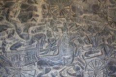 Angkor Wat. Detalle del arte en la piedra fotografía de archivo