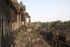 Angkor Wat. Different level of galleries and forest at Angkor Wat, Angkor, Siem Reap, Cambodia. Angkor Wat was first a Hindu later a Buddhist temple complex and royalty free stock photography