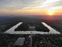Angkor wat droneshot stock photo