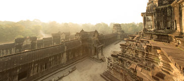 Angkor Wat East Gate. Sunrise Panorama of esat gate from inside Stock Photos