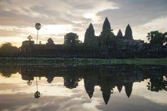 Angkor Wat is een Unesco-plaats van Wereldherutage sinds 1992 Beroemd voor het de bouwproces van ` s en snijdende muurschildering stock foto