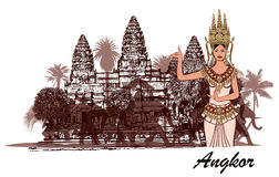 Angkor wat with elephants, palm trees and apasara. Angkor wat with elephants, palm trees and apsara- vector illustration Royalty Free Stock Images
