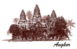 Angkor wat with elephants and palm trees Stock Image