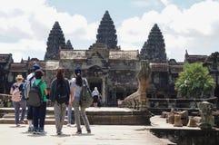 Angkor Wat ist eine UNESCO-Welterbestätte seit 1992 Berühmt für es ` s Bauprozess und schnitzen Wandgemälde Lizenzfreie Stockfotografie