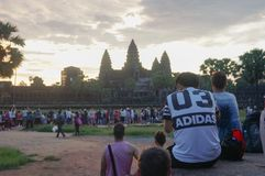 Angkor Wat ist eine UNESCO-Welterbestätte seit 1992 Berühmt für es ` s Bauprozess und schnitzen Wandgemälde Stockbild