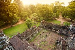 Angkor wat in jungle in sunrise time Stock Image