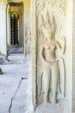 Angkor Wat komplex - Apsara staty Arkivbilder