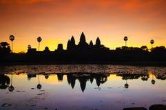 Angkor wat and lake at sunrise,cambodia 3 Stock Images