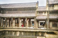 Angkor Wat is the largest temple in the world Cambodia, 2019. It is raining