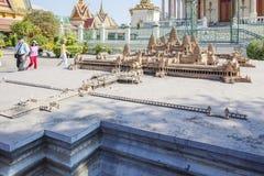 Angkor Wat miniatura, Royal Palace Kambodża, Phnom Penh, Kambodża Obrazy Stock